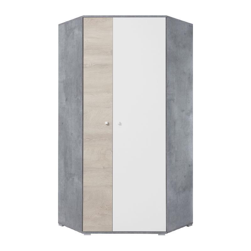 Šatní rohová skříň Sigma 2 - beton / bílý lux / dub
