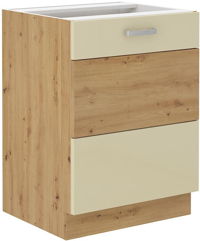Dolní skříňka Arisa 4 (60 cm) krémový lesk bez pracovní desky