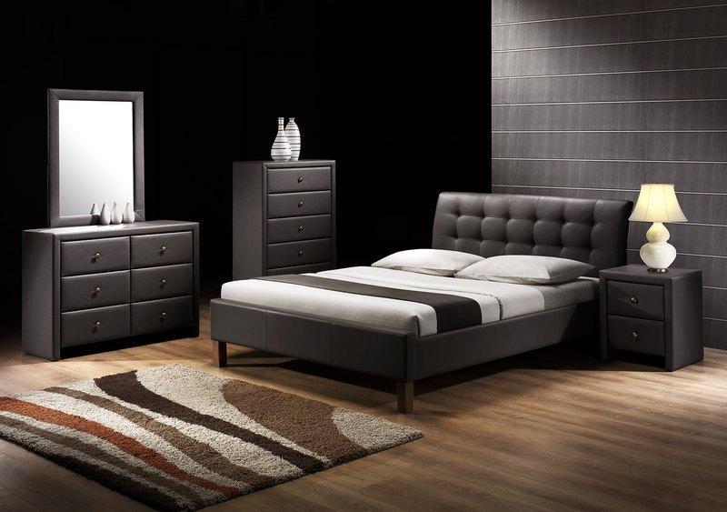 Luxusní čalouněná postel Samanta - eko kůže černá, bílá nebo tmavě hnědá
