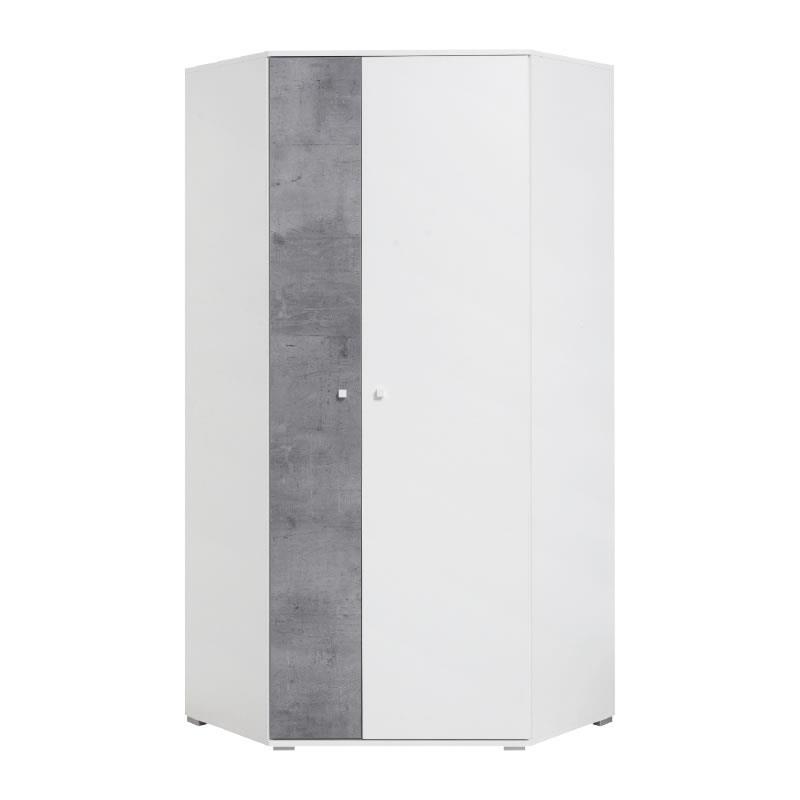Šatní rohová skříň Sigma 2 - bílý lux / beton