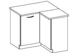 Dolní rohová skříňka Daniela 6 s pracovní deskou (89/89 cm)