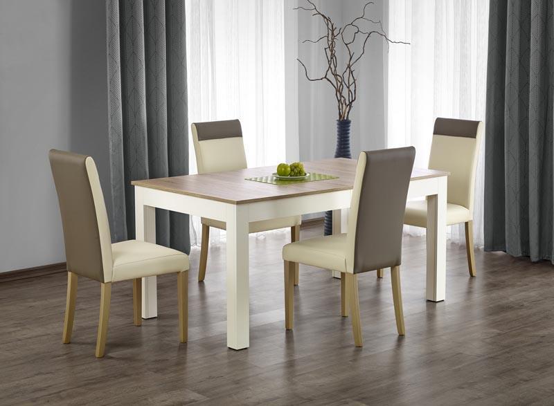 Jídelní set Sewy + 4 židle Nora ( bílý / dub sonoma )