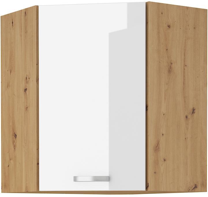 Horní rohová skříňka Arisa 20 (58x58 / 72 cm) bílý lesk