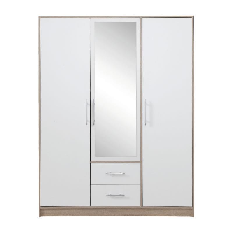 Šatní skříň Simona 2 se zrcadlem dub sonoma / bílý lux - 150 / 190 / 56 cm