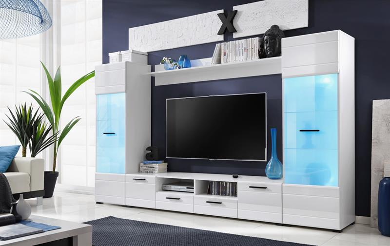 Obývací stěna Switch - bílá / bílý  MDF lesk