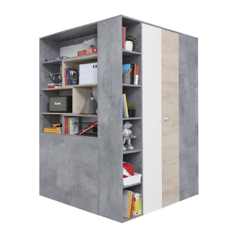 Šatní skříň Sigma 1 - beton / bílý lux / dub