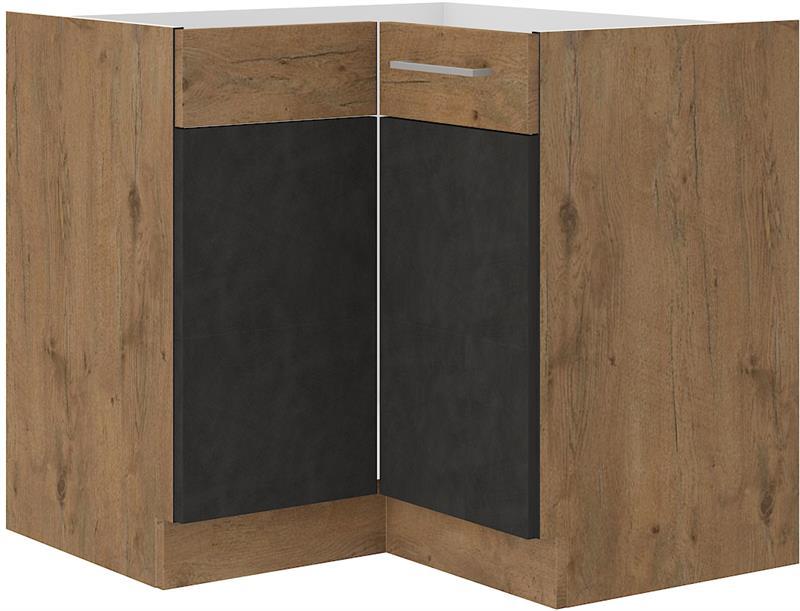 Dolní rohová skříňka Viktorie grafit mat 10 (89/89 cm) bez pracovní desky