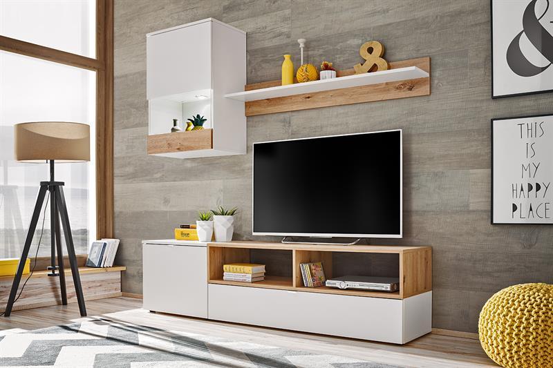 Obývací stěna Mini - bílý mat / dub artisan