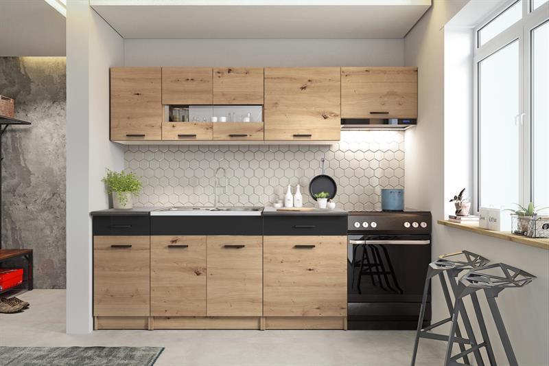 Kuchyňská linka Alena 240 cm - dub artisan / černá