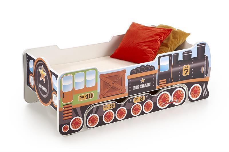 Dětská postel Lokomotiva s úložným prostorem, včetně matrace