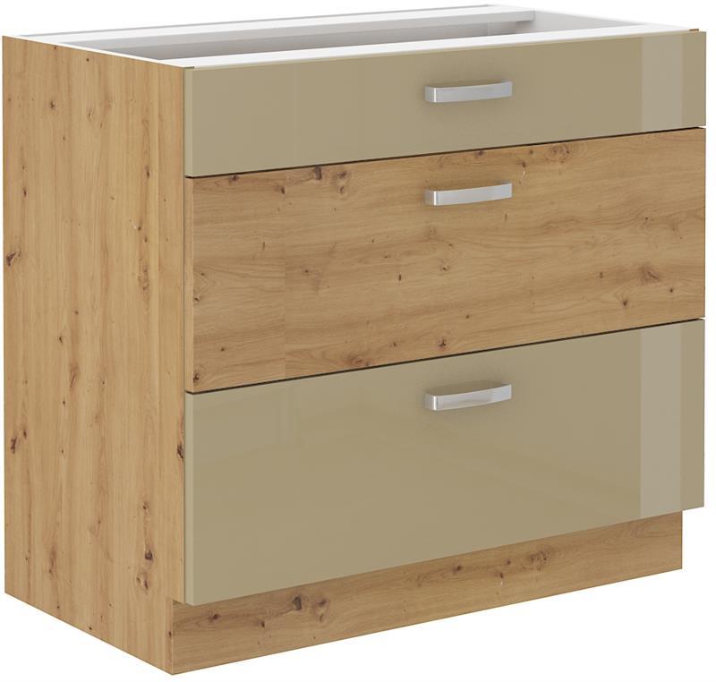Dolní skříňka Arisa 3 (80 cm) cappucino lesk bez pracovní desky