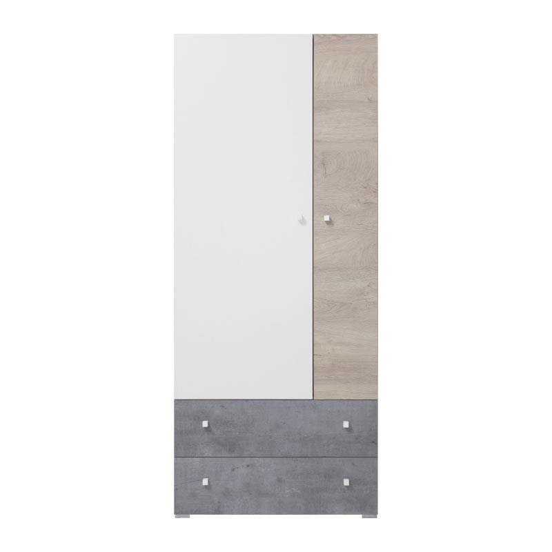 Šatní skříň Sigma 3 - beton / bílý lux / dub