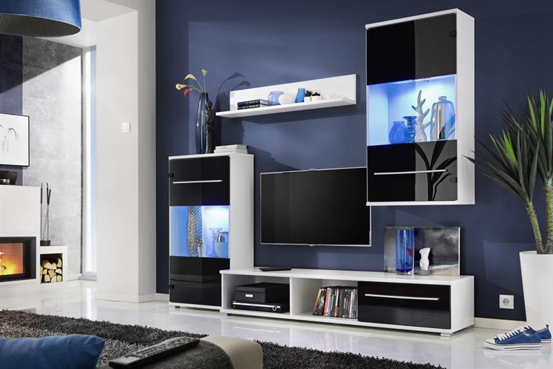 Obývací stěna Lippi - bílá / černý lesk