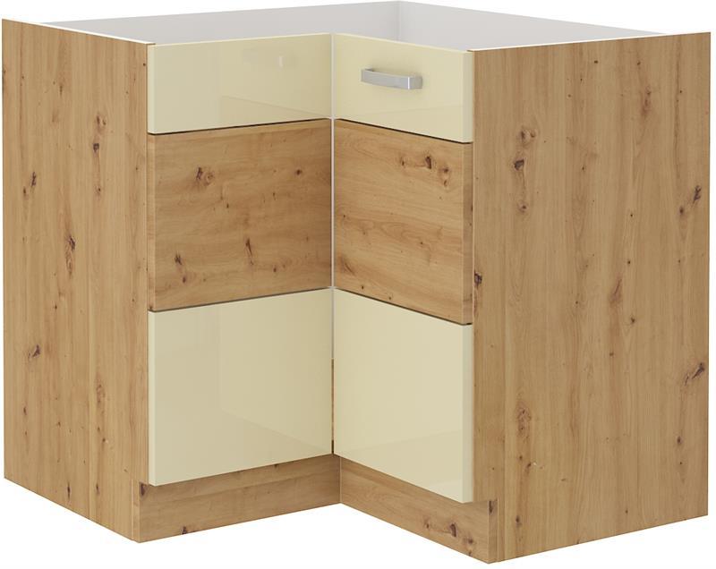 Dolní rohová skříňka Arisa 9 (89/89 cm) krémový lesk bez pracovní desky